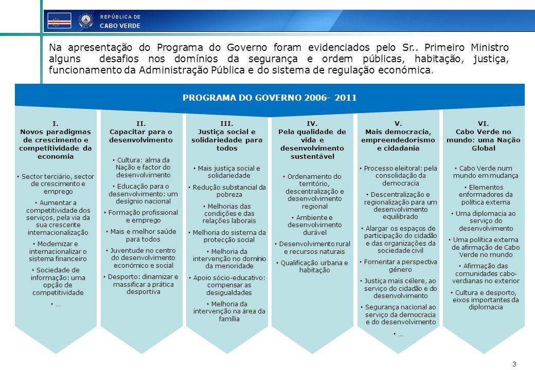 PROGRAMA DO GOVERNO 2006- 2011