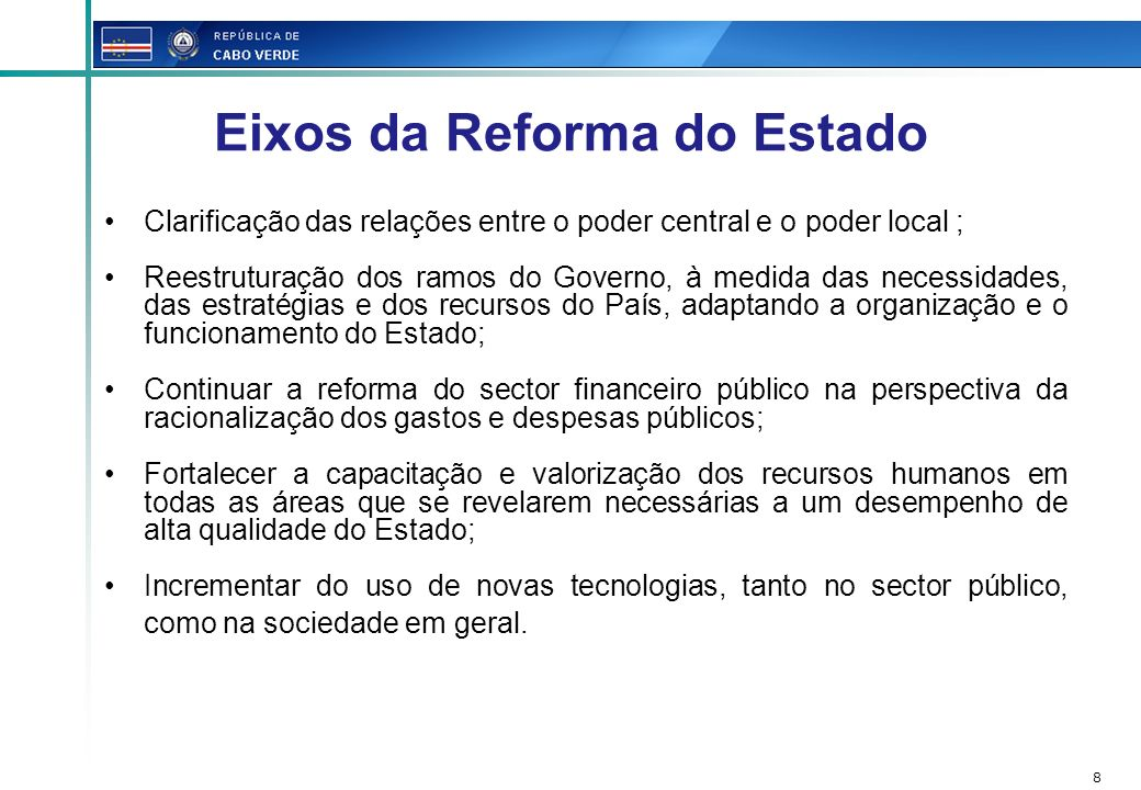 Eixos da Reforma do Estado