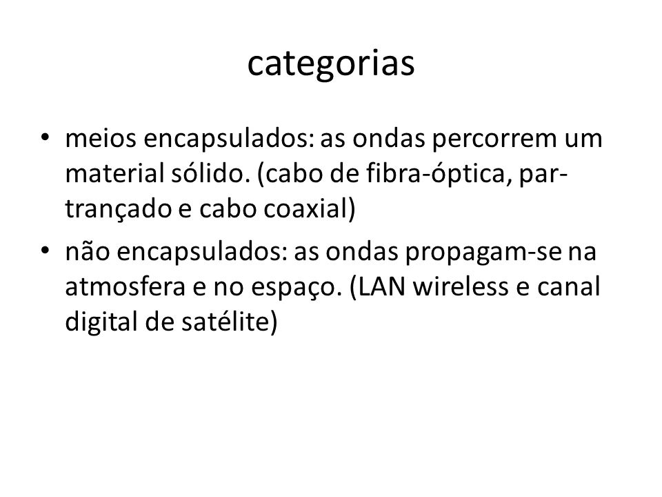 categorias meios encapsulados: as ondas percorrem um material sólido. (cabo de fibra-óptica, par-trançado e cabo coaxial)