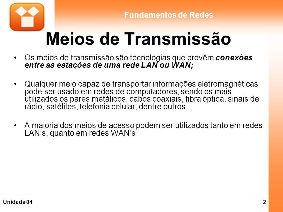 Meios de Transmissão Os meios de transmissão são tecnologias que provêm conexões entre as estações de uma rede LAN ou WAN;