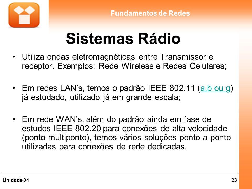 Sistemas Rádio Utiliza ondas eletromagnéticas entre Transmissor e receptor. Exemplos: Rede Wireless e Redes Celulares;