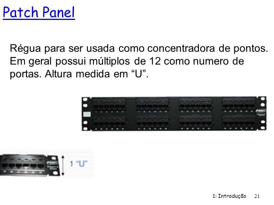 Patch Panel Régua para ser usada como concentradora de pontos. Em geral possui múltiplos de 12 como numero de portas. Altura medida em U .