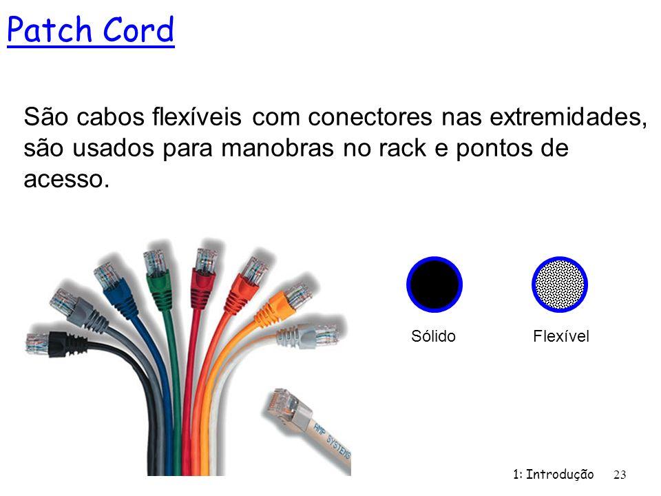 Patch Cord São cabos flexíveis com conectores nas extremidades, são usados para manobras no rack e pontos de acesso.