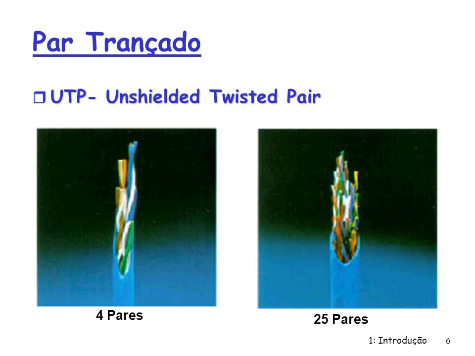 Par Trançado UTP- Unshielded Twisted Pair 4 Pares 25 Pares
