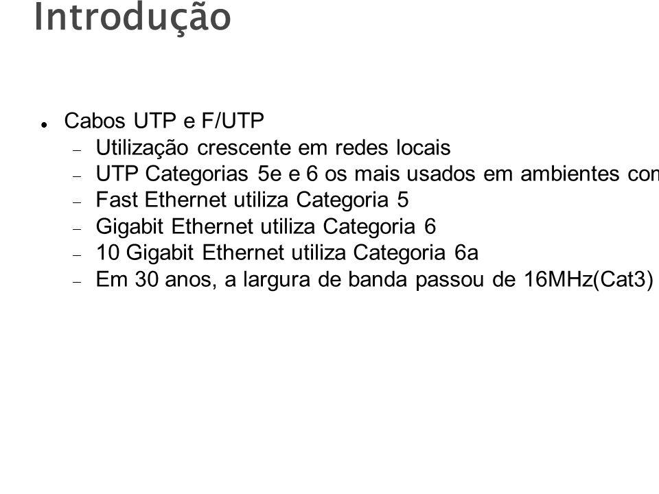 Introdução Cabos UTP e F/UTP Utilização crescente em redes locais