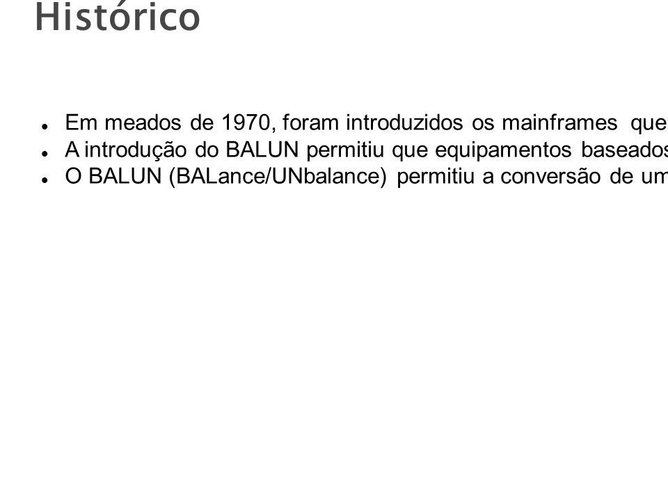 Histórico Em meados de 1970, foram introduzidos os mainframes que utilizavam cabos coaxiais.