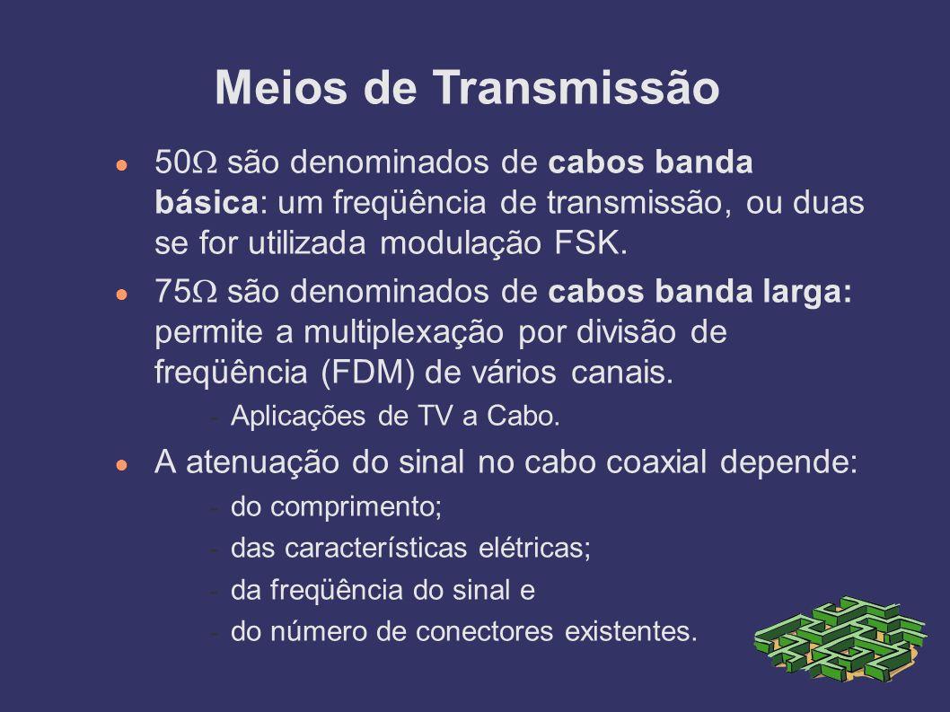 Meios de Transmissão 50 são denominados de cabos banda básica: um freqüência de transmissão, ou duas se for utilizada modulação FSK.