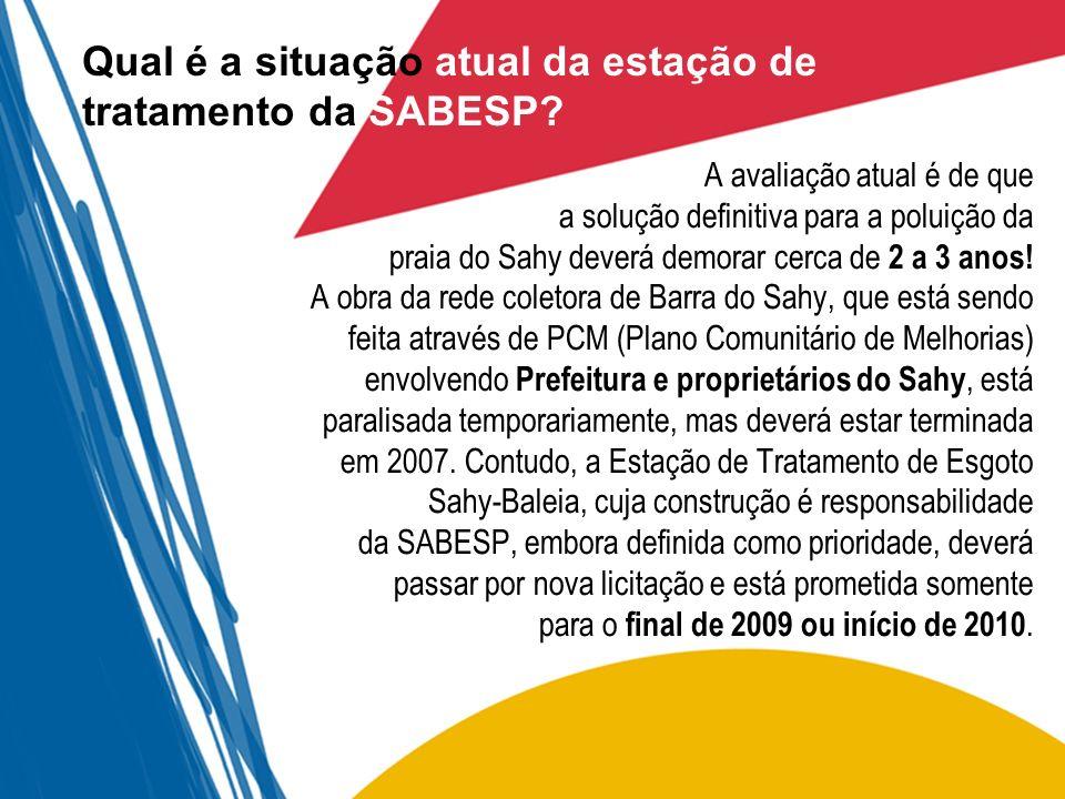 Qual é a situação atual da estação de tratamento da SABESP