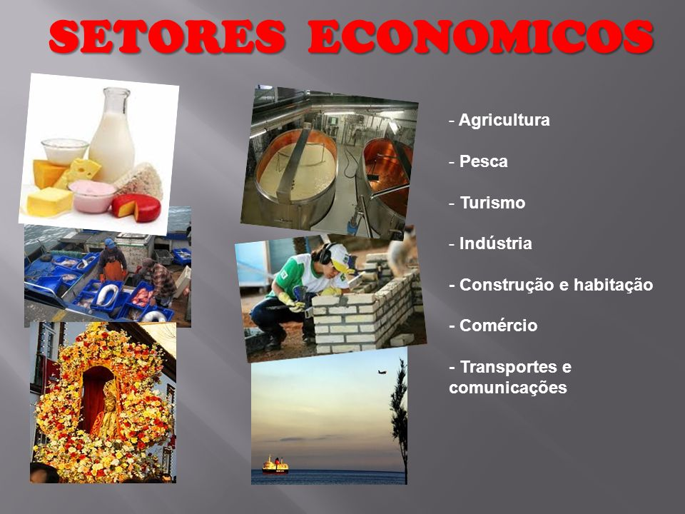 SETORES ECONOMICOS Agricultura Pesca Turismo Indústria
