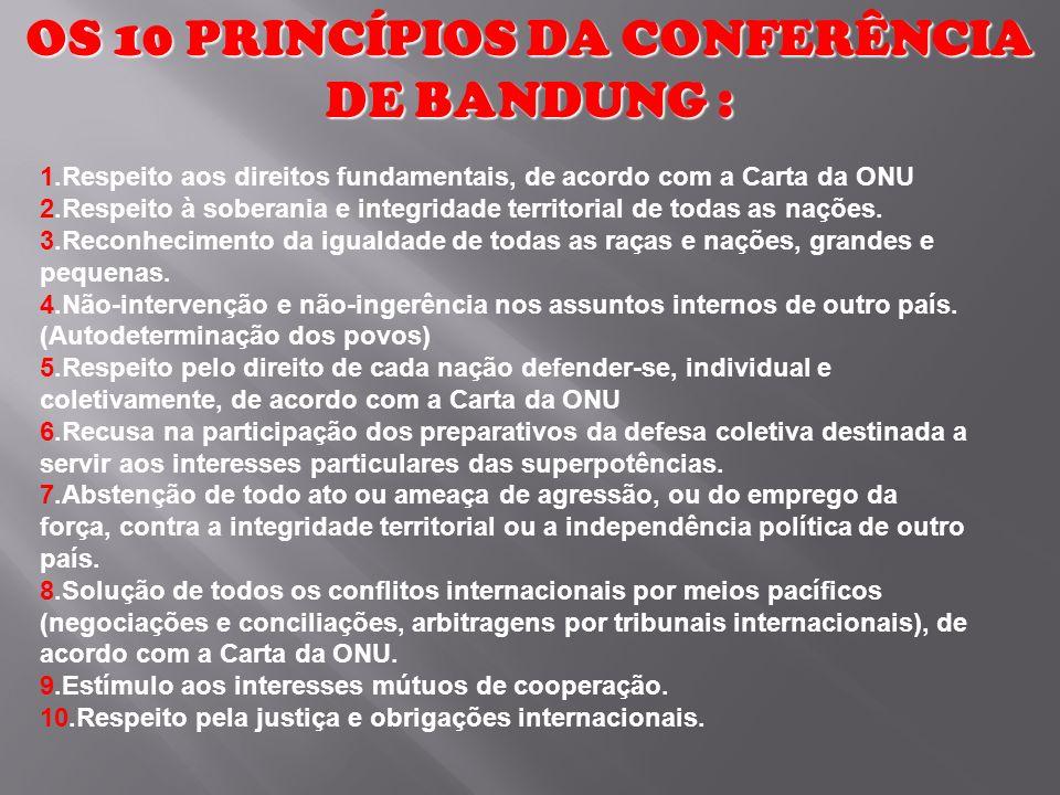 OS 10 PRINCÍPIOS DA CONFERÊNCIA DE BANDUNG :