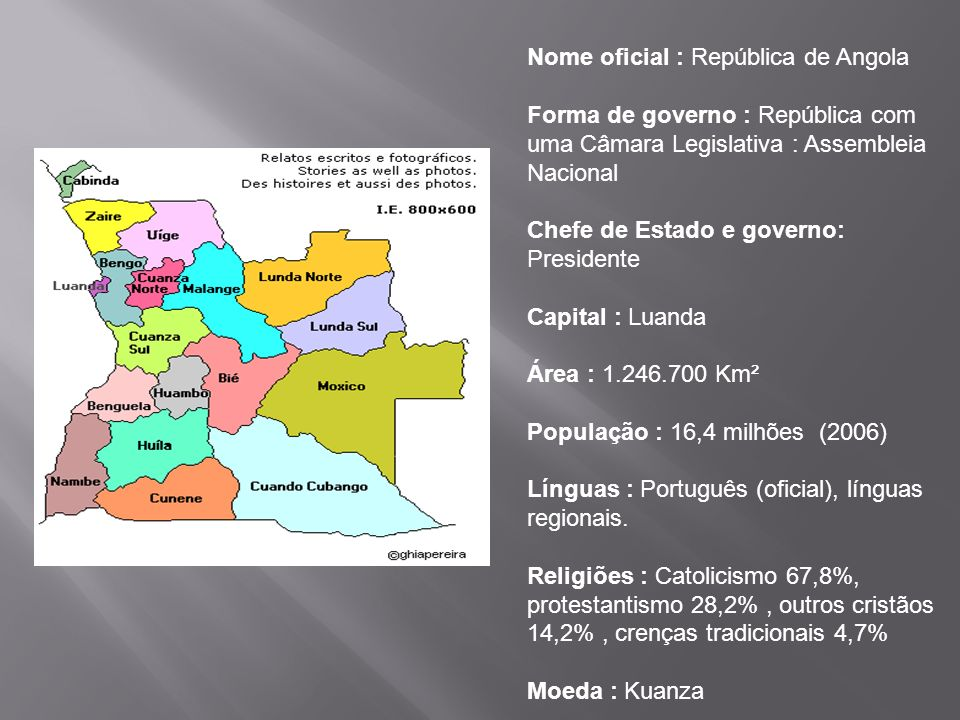 Nome oficial : República de Angola