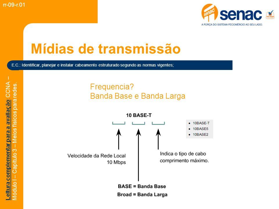 Mídias de transmissão Frequencia Banda Base e Banda Larga rr-09-r.01