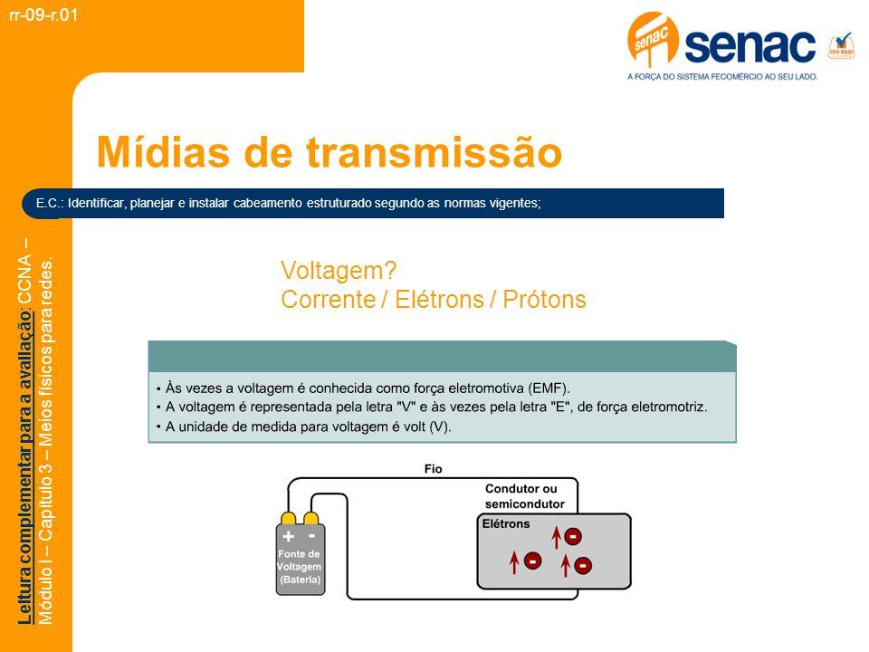 Mídias de transmissão Voltagem Corrente / Elétrons / Prótons