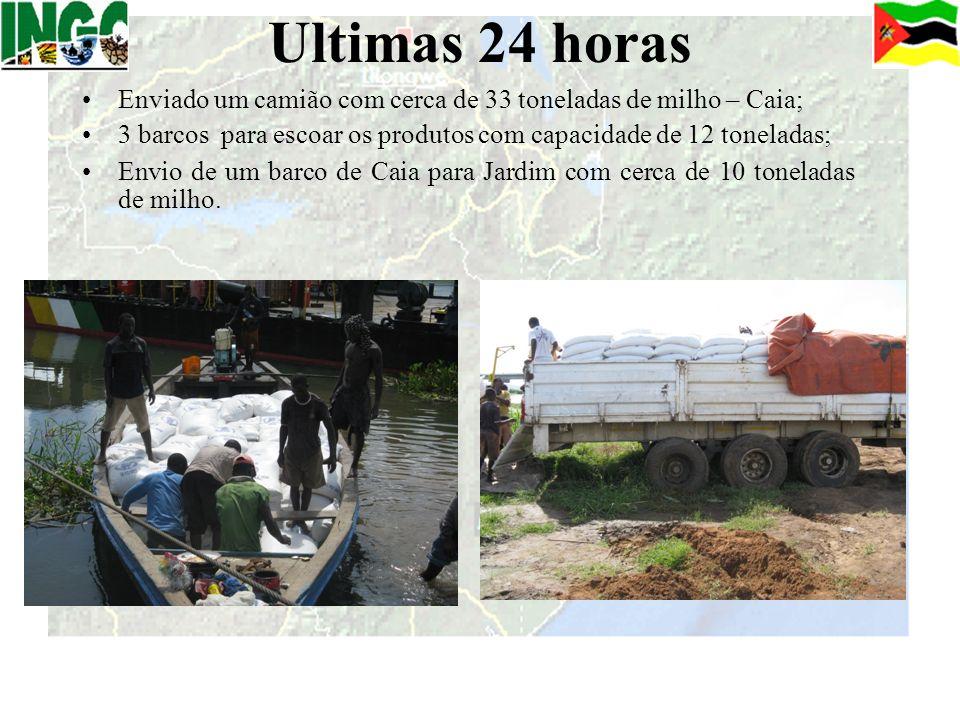 Ultimas 24 horas Enviado um camião com cerca de 33 toneladas de milho – Caia; 3 barcos para escoar os produtos com capacidade de 12 toneladas;
