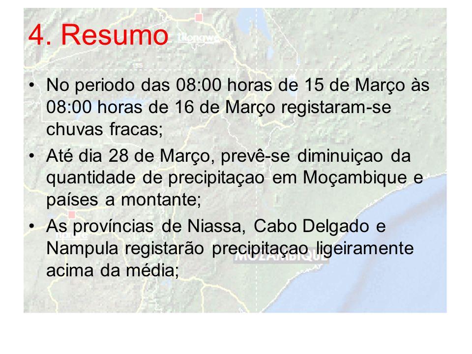 4. Resumo No periodo das 08:00 horas de 15 de Março às 08:00 horas de 16 de Março registaram-se chuvas fracas;