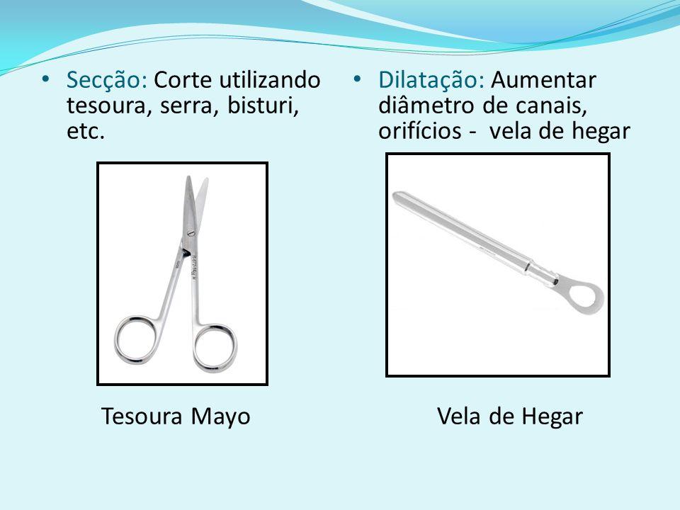 Secção: Corte utilizando tesoura, serra, bisturi, etc.