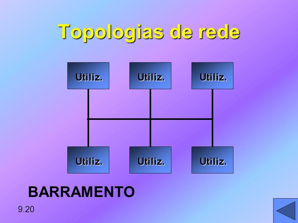 Topologias de rede BARRAMENTO Utiliz. 9.20