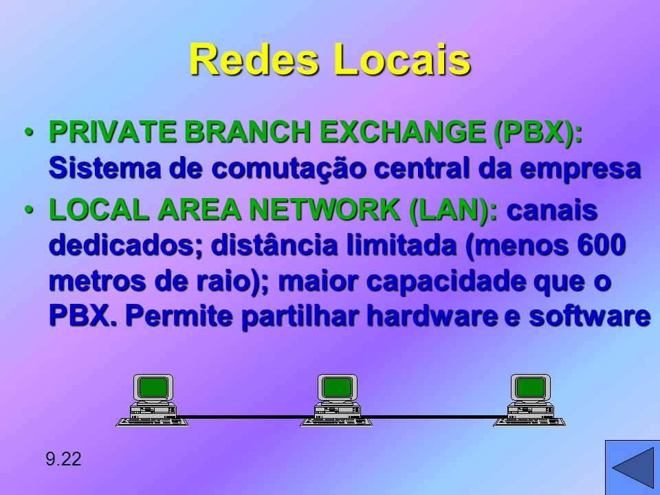 Redes Locais PRIVATE BRANCH EXCHANGE (PBX): Sistema de comutação central da empresa.