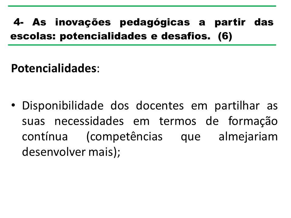 4- As inovações pedagógicas a partir das escolas: potencialidades e desafios. (6)