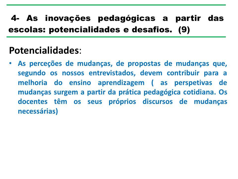 4- As inovações pedagógicas a partir das escolas: potencialidades e desafios. (9)