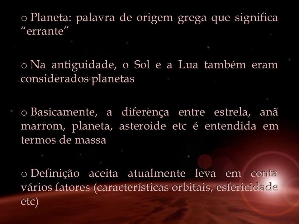 Planeta: palavra de origem grega que significa errante