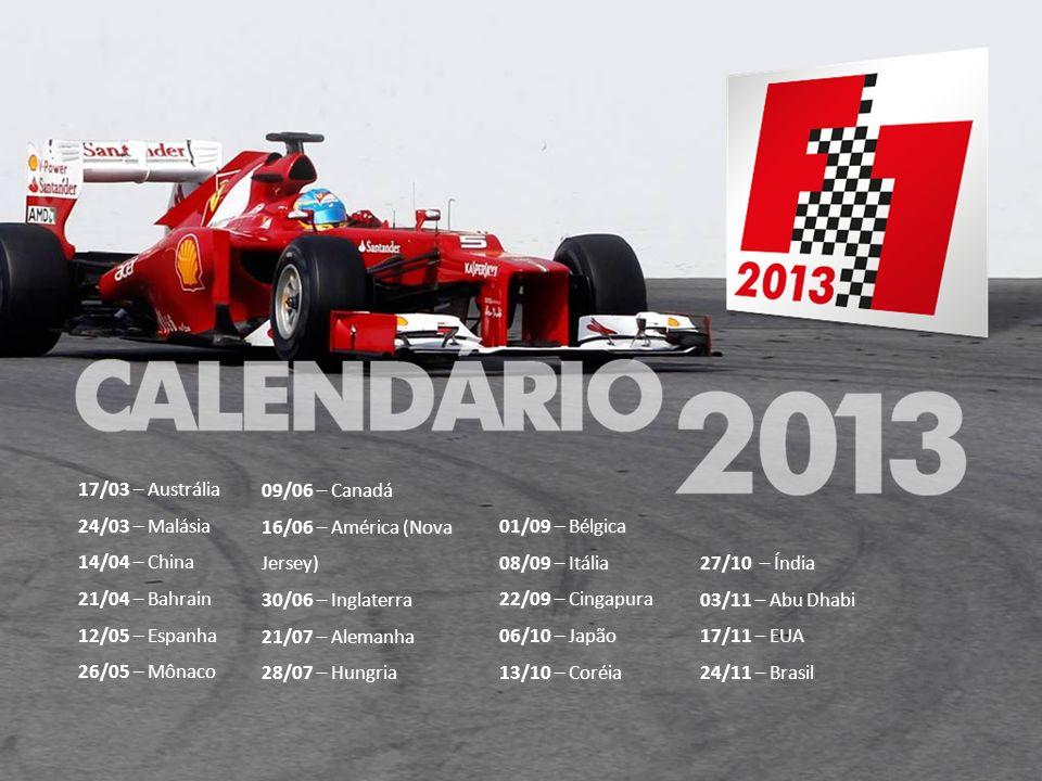 17/03 – Austrália 24/03 – Malásia. 14/04 – China. 21/04 – Bahrain. 12/05 – Espanha. 26/05 – Mônaco.