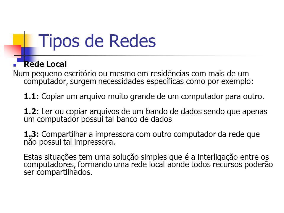 Tipos de Redes Rede Local