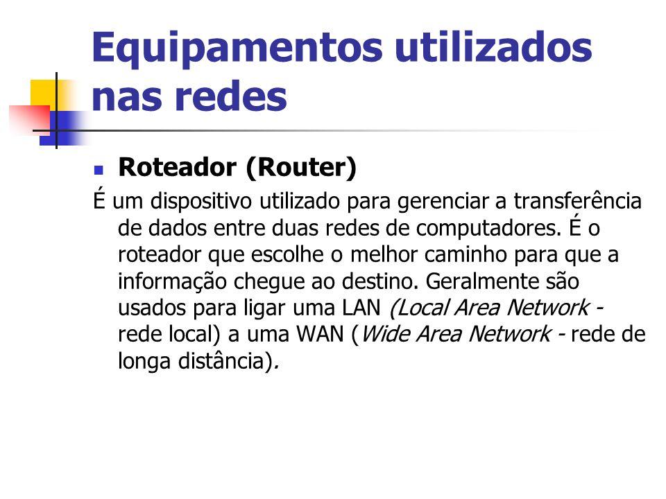 Equipamentos utilizados nas redes
