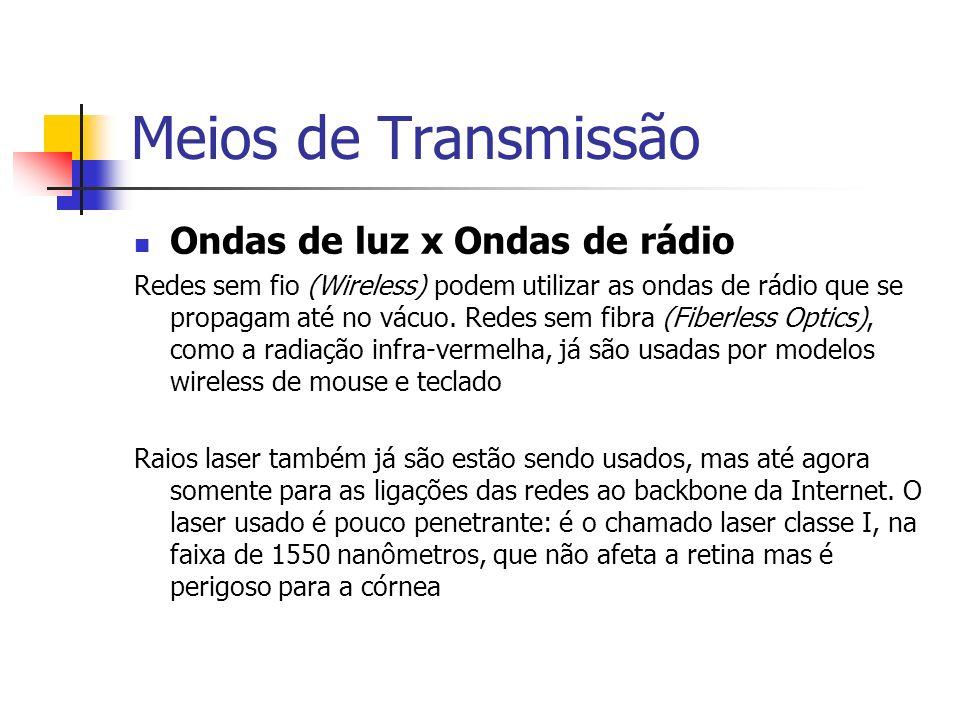 Meios de Transmissão Ondas de luz x Ondas de rádio