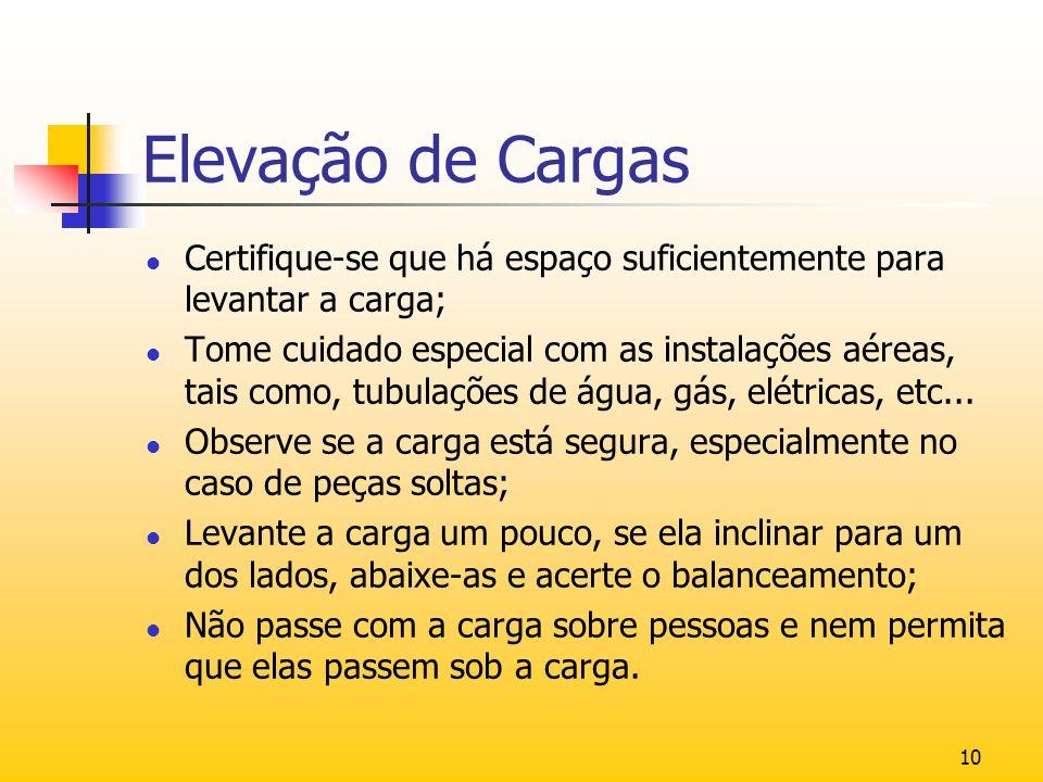 Elevação de Cargas Certifique-se que há espaço suficientemente para levantar a carga;