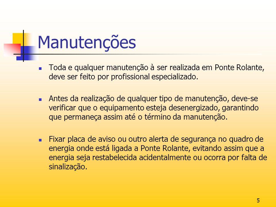 Manutenções Toda e qualquer manutenção à ser realizada em Ponte Rolante, deve ser feito por profissional especializado.