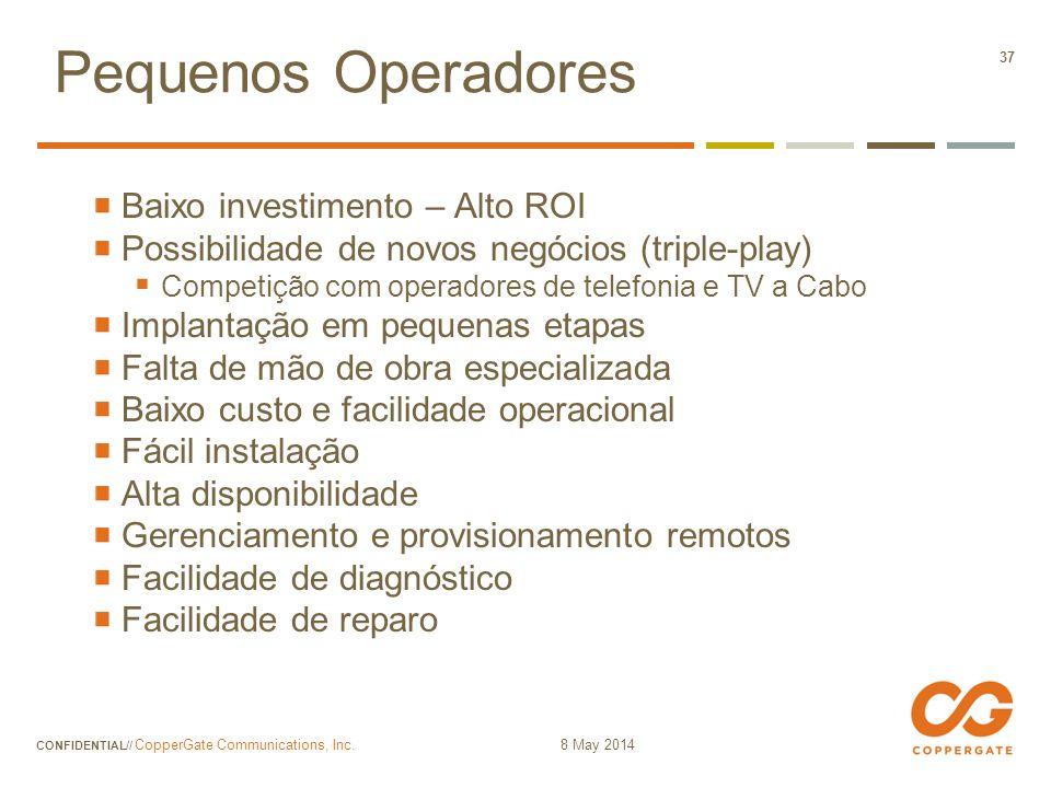 Pequenos Operadores Baixo investimento – Alto ROI