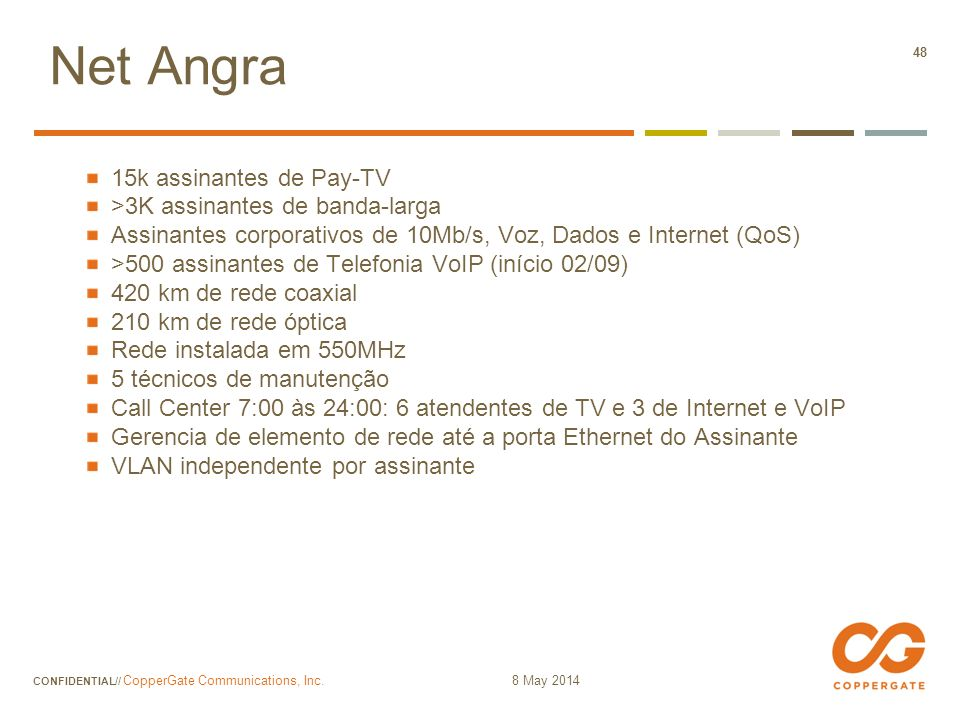 Net Angra 15k assinantes de Pay-TV >3K assinantes de banda-larga