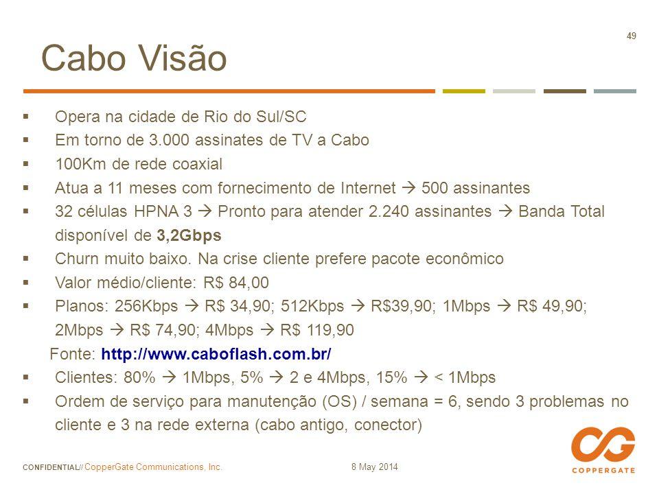 Cabo Visão Opera na cidade de Rio do Sul/SC