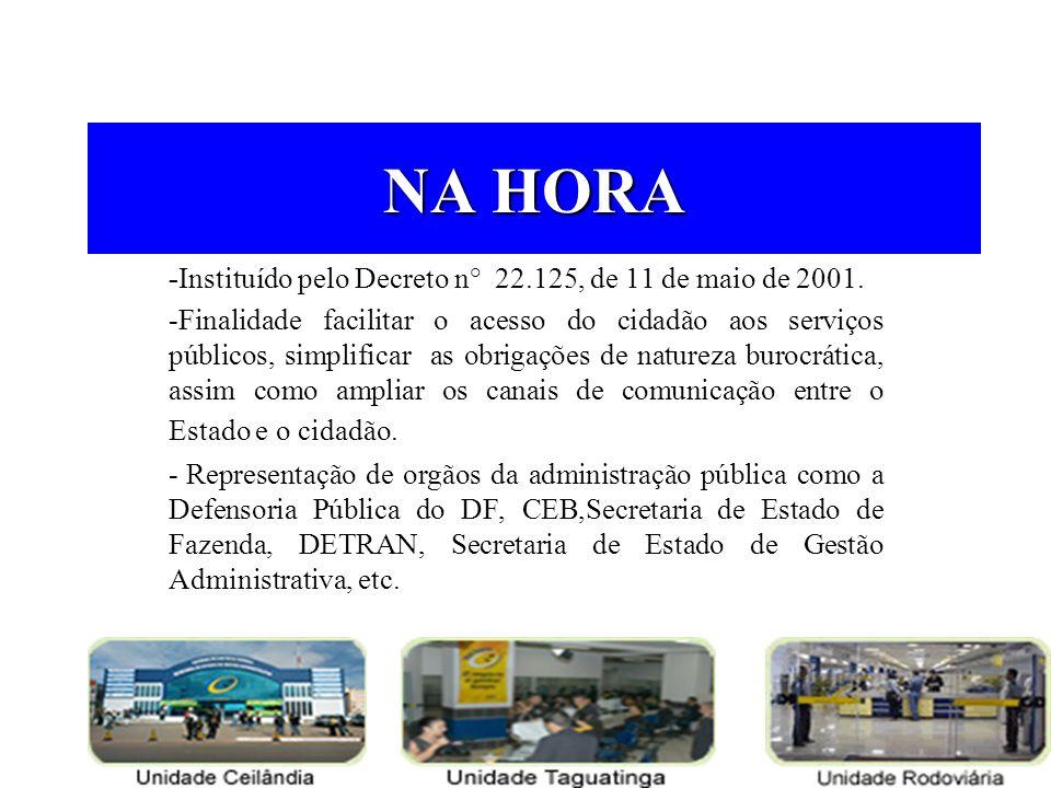 NA HORA -Instituído pelo Decreto n° 22.125, de 11 de maio de 2001.