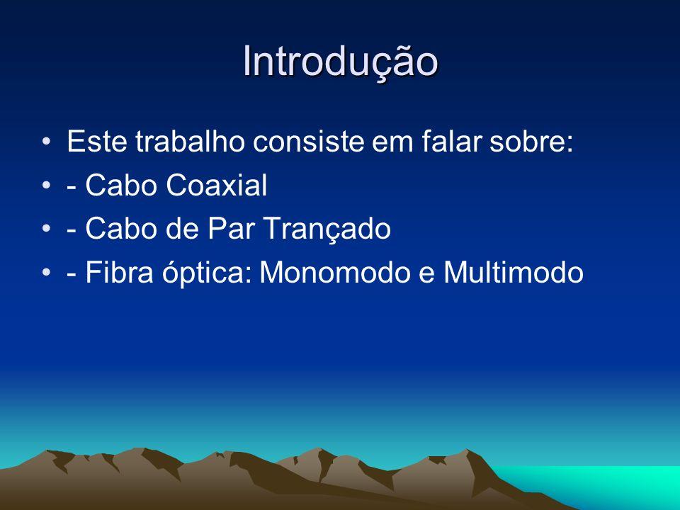 Introdução Este trabalho consiste em falar sobre: - Cabo Coaxial