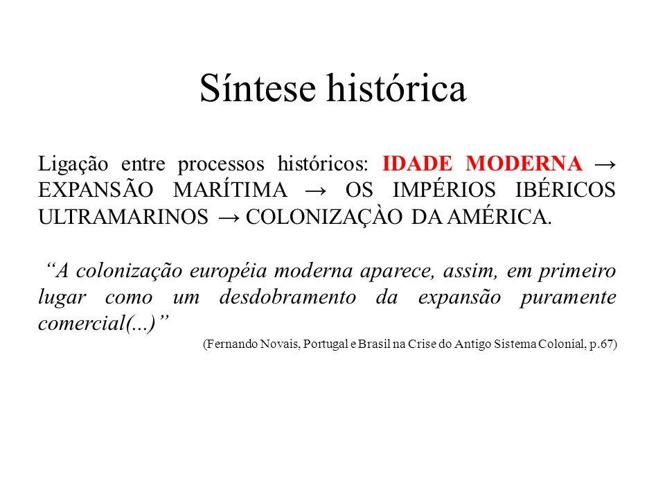 Síntese histórica Ligação entre processos históricos: IDADE MODERNA → EXPANSÃO MARÍTIMA → OS IMPÉRIOS IBÉRICOS ULTRAMARINOS → COLONIZAÇÀO DA AMÉRICA.