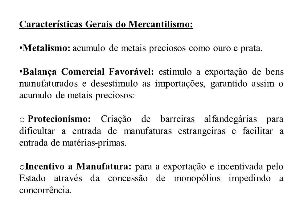 Características Gerais do Mercantilismo: