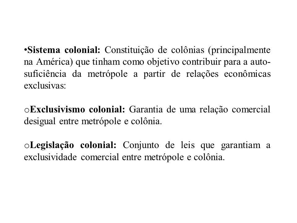 Sistema colonial: Constituição de colônias (principalmente na América) que tinham como objetivo contribuir para a auto-suficiência da metrópole a partir de relações econômicas exclusivas: