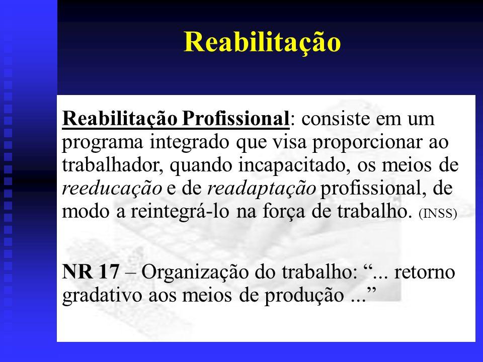 Reabilitação Reabilitação Profissional: consiste em um