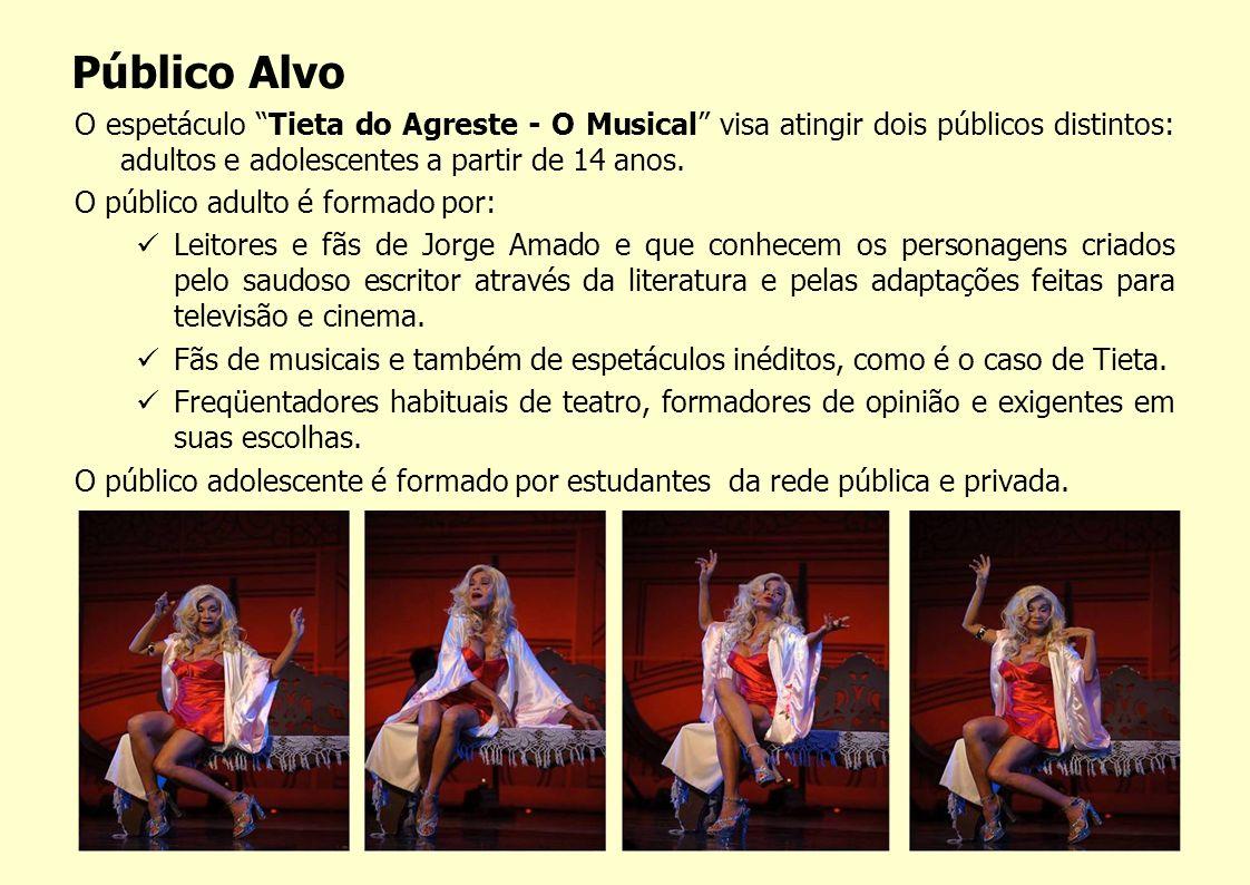 Público Alvo O espetáculo Tieta do Agreste - O Musical visa atingir dois públicos distintos: adultos e adolescentes a partir de 14 anos.