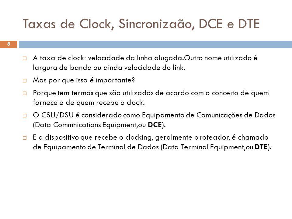 Taxas de Clock, Sincronizaão, DCE e DTE