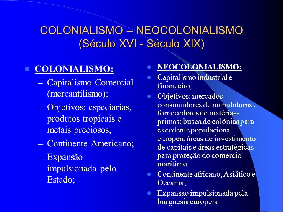 COLONIALISMO – NEOCOLONIALISMO (Século XVI - Século XIX)