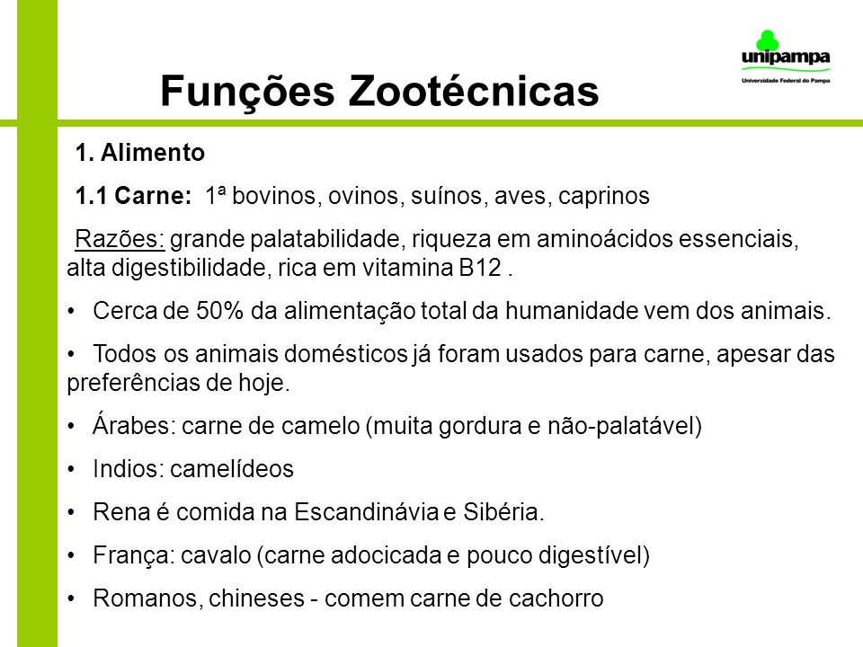 Funções Zootécnicas 1. Alimento
