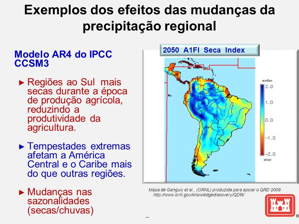 Exemplos dos efeitos das mudanças da precipitação regional