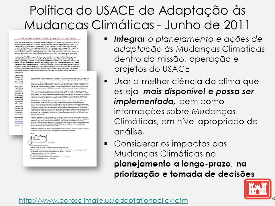 Política do USACE de Adaptação às Mudanças Climáticas - Junho de 2011