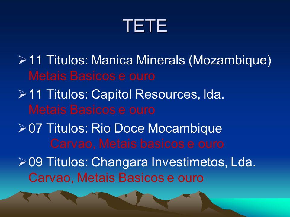 TETE 11 Titulos: Manica Minerals (Mozambique) Metais Basicos e ouro