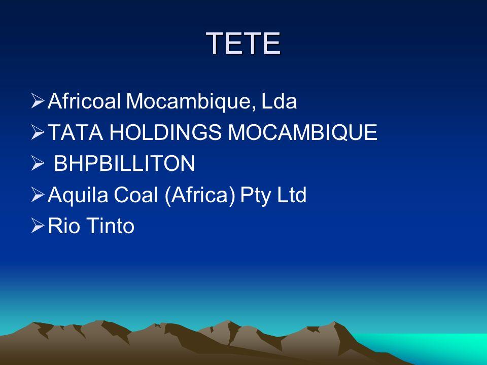 TETE Africoal Mocambique, Lda TATA HOLDINGS MOCAMBIQUE BHPBILLITON