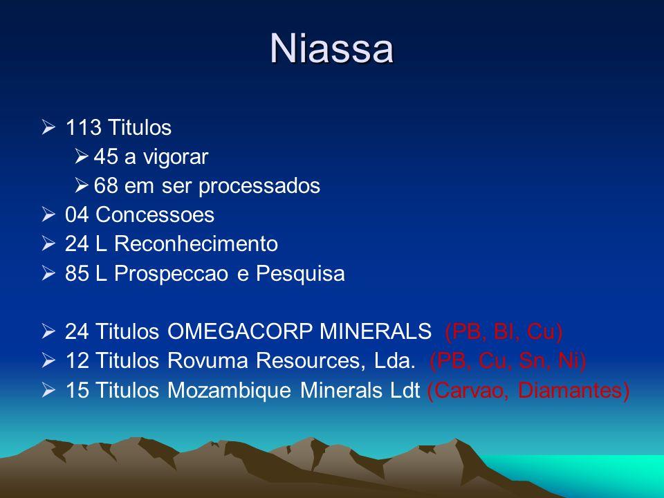 Niassa 113 Titulos 45 a vigorar 68 em ser processados 04 Concessoes