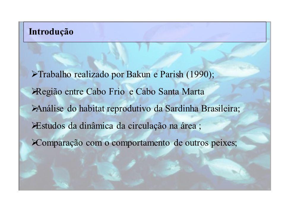 Introdução Trabalho realizado por Bakun e Parish (1990); Região entre Cabo Frio e Cabo Santa Marta.